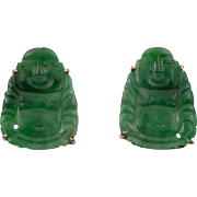 14K YG | Natural Apple Green Jadeite Jade | Buddha Earrings