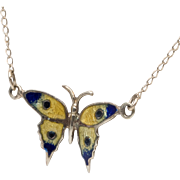 14K YG | Enamel Monarch Butterfly Pendant with Chain - Red Tag Sale Item