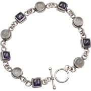 Sterling Silver | Cat's Eye Moonstone Bracelet 7.5 Inches