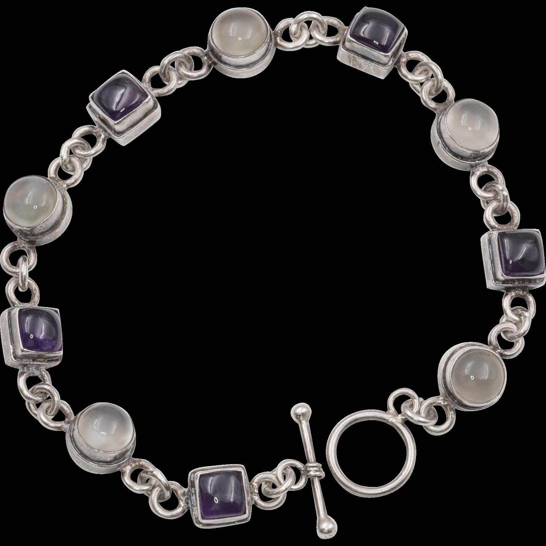 Sterling silver cat 39 s eye moonstone bracelet 7 5 inches for Cat s eye moonstone jewelry