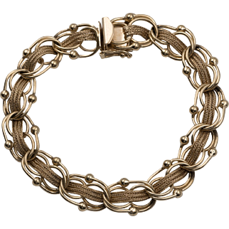 14K YG | 20.7 Grams | Link Bracelet with Braided Mesh 7-1/2 Inches
