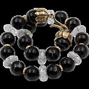 Stunning! 14K   15mm Banded Agate & Rock Crystal Quartz Choker/Necklace