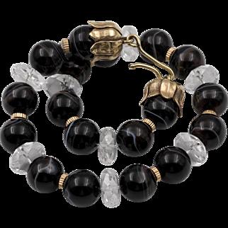 Stunning! 14K | 15mm Banded Agate & Rock Crystal Quartz Choker/Necklace