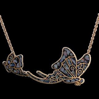 Vintage Vermeil Sterling Silver / Double Butterfly Pendant