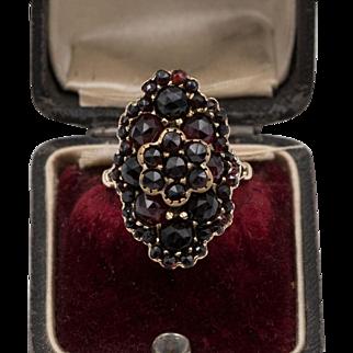 14K YG | Vintage | Almandine & Pyrope Garnet Cluster Ring