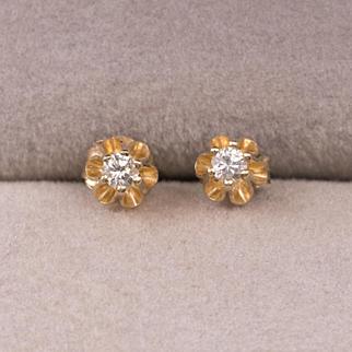 14K YG | Vintage Diamond Earrings