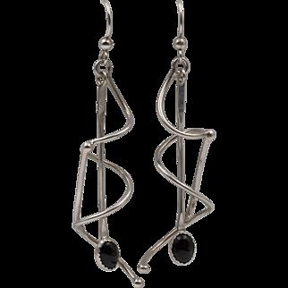 Sterling Silver | Modernist Black Onyx Earrings