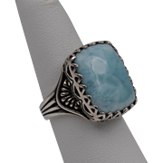 Large Sterling Silver | Larimar Ring Size 7-1/4