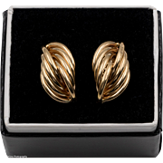 14K YG | Fluted Earrings | Post Backs