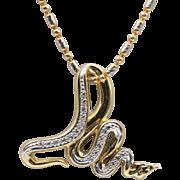 18K YG/WG   Diamond Snake Pendant