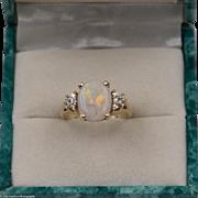 Stunning   Fiery Australian Opal Ring with Diamonds   Size 6-3/4