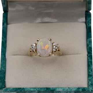 Stunning | Fiery Australian Opal Ring with Diamonds | Size 6-3/4