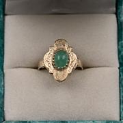 Antique | Natural Emerald | 14K YG Navette Ring | Size 6-1/4