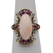 14K | Ruby~Diamond~Angel Skin Coral Ring | Size 6-1/4