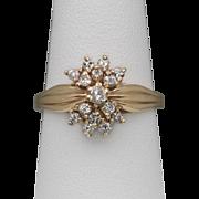 Vintage | 14K YG | Beautiful Diamond Cluster Ring | Size 8
