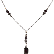 Vintage | Sterling Silver Garnet Drop Necklace 19-Inches
