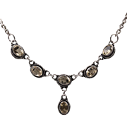 Vintage | Sterling Silver Citrine Drop Necklace 19-Inches