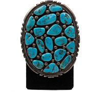 Vintage | Signed T. Moore  | Native American | Kingman Turquoise & Sterling Silver Belt Buckle