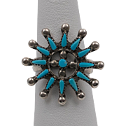 Vintage Sterling Silver | Zuni Petit Point Turquoise Ring | Size 6-3/4