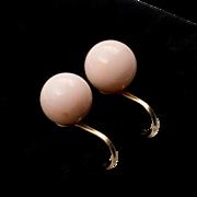 14K | 10MM | Natural Angel Skin Coral Earrings | Screw-backs Non-Pierced