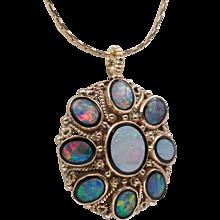 Beautiful Vintage | Opal Doublet & Black Onyx Pendant | Upcycled