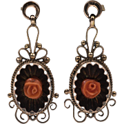 Mid-Victorian | Antique Coral Earrings | 8ct Gold