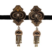 Mid-Victorian | Antique | Taille D'Epargne | Seed Pearl & Fringe Earrings