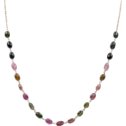 Sterling Silver | Vintage Tourmaline Bead Necklace | 18-Inch