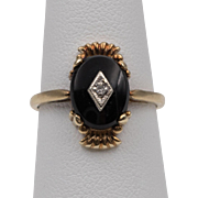 Hand-Wrought | Art Deco | 10K YG Gold |  Black Onyx and Diamond Ring Size 6