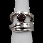 Garnet | Handmade Sterling Silver | Split-Shank Ring