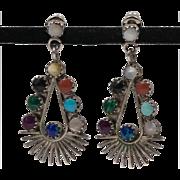 Vintage Sterling Silver | Simulated Gemstone Earrings