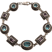 Sterling Silver | Simulated Gemstone Bracelet | 7-1/2 Inches