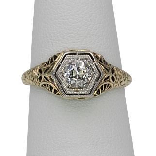 Art Deco | 15K YG | .40 Carat European Cut Diamond | Filigree Ring Size 5-1/2