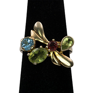 Gemstone | Dragon Fly Ring | 925/Gold Overlay  | Size 7-1/2