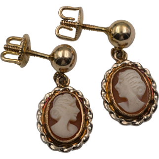 14K Yellow Gold | Carved Shell Cameo Earrings with Thread Backs