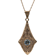 Vintage | Blue Topaz Filigree Pendant with 19-Inch Chain | 10K