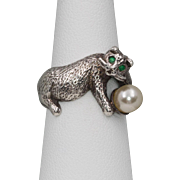 Unique | Emerald & Pearl Cat Ring | Sterling Silver | Size 6-1/4