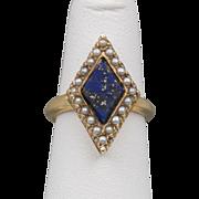 Antique | Lapis Lazuli Seed Pearl Ring | 14K YG