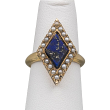 Antique   Lapis Lazuli Seed Pearl Ring   14K YG