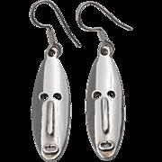 Sterling Silver | Elongated | Mask/Face Earrings