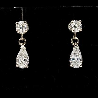 14K WG | 1CTW | Diamond Drop Earrings