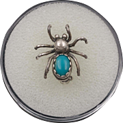 Sterling Silver | Turquoise | Spider Pin/Brooch