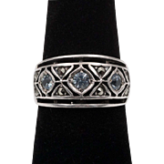 3-Stone Blue Topaz & Marcasite | Sterling Silver Band/Ring | Size 6-3/4