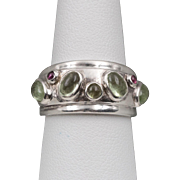 Green Quartz & Rhodolite Garnet | Sterling Silver | Band/Ring
