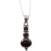 Classic 3-Stone Garnet Pendant with 18-Inch Chain | Sterling Silver
