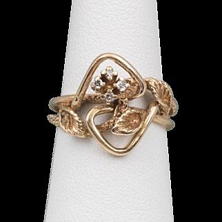 14K YG | Vintage | Diamond Calla Lily Ring | Size 5-1/2