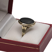 14K | Deco c1920 | Black Onyx Signet-Style Ring