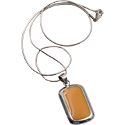 Sterling Silver | Orange Stone Pendant with Sterling Silver Snake Chain