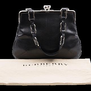 Vintage | Burberry London | Black Leather Lizard-Embossed Handbag