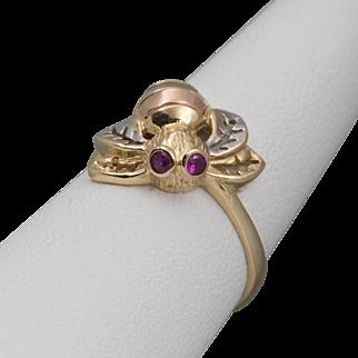 Vintage 14K Tri-Color Gold | Ruby Honey Bee Ring | Size 7